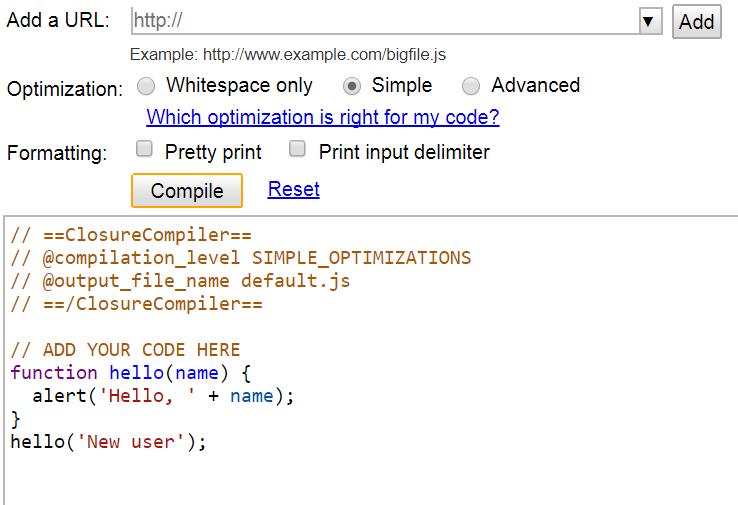 Javascript kod sıkıştırma, kod kısaltma-küçültme işlemi
